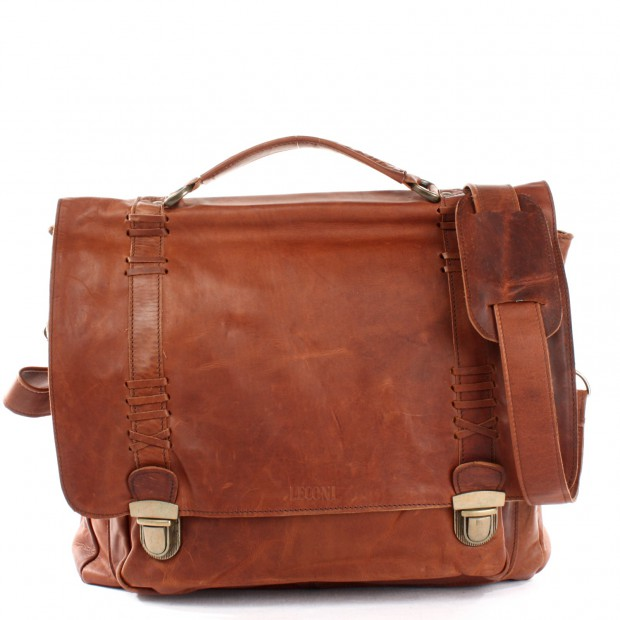 LECONI Aktentasche Ledertasche Messenger Bag Leder braun LE3012