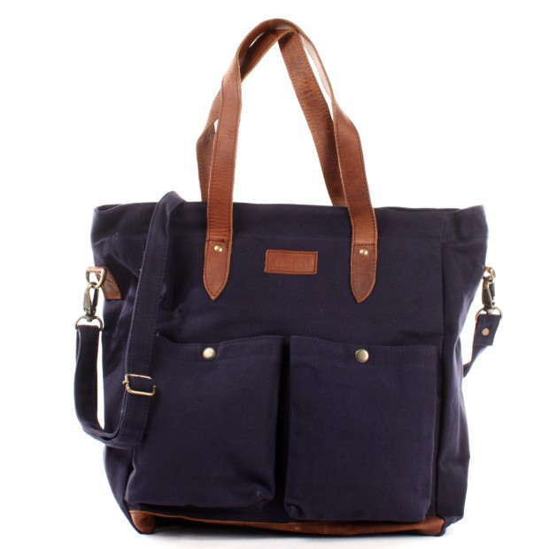 LECONI Shopper Beuteltasche Damentasche Canvas Leder navy LE0040