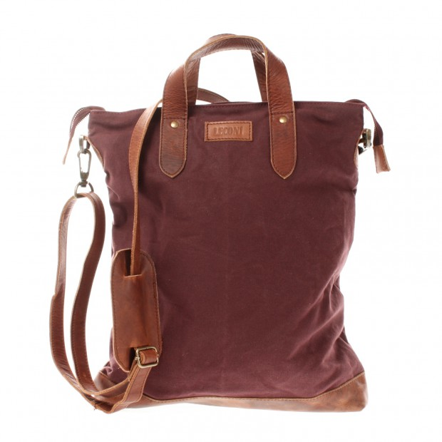 LECONI Shopper Henkeltasche Damen Canvas Leder bordeaux LE0037