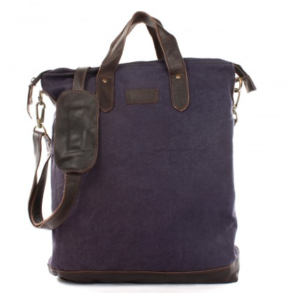 LECONI Shopper Henkeltasche Damen Canvas Leder navy LE0037