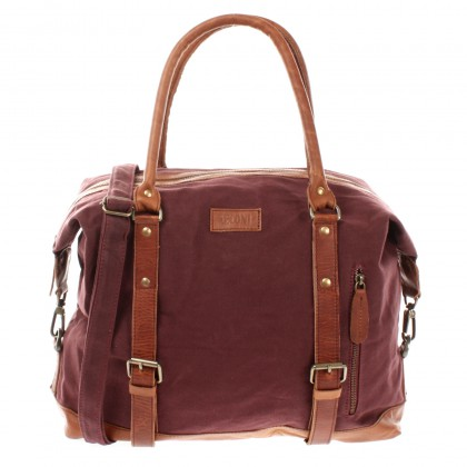 LECONI kleiner Weekender Shopper Damen Herren Leder Canvas bordeaux LE2006