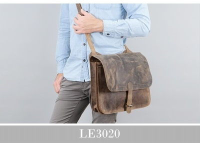 LECONI Messenger Bag Collegetasche Leder Canvas Herren Damen LE3020